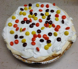 Candy Bar Pie with Reeses Pieces Recipe from Amanda C Stone