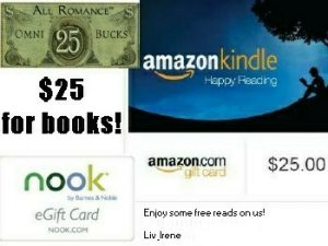 Win a $25 gift card to Amazon, Barnes and Noble Or AllRomanceEbooks