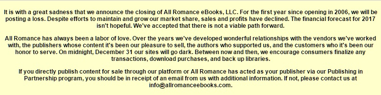 All Romance Closure Notice